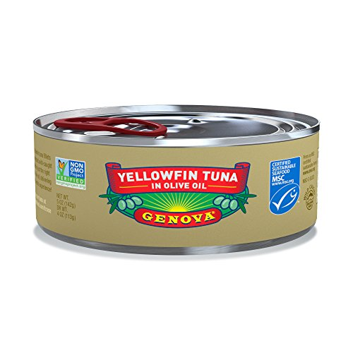 Genova Yellowfin Tuna in Pure Olive Oil, 5 Ounce (Pack of 24) (Tuna Genova)