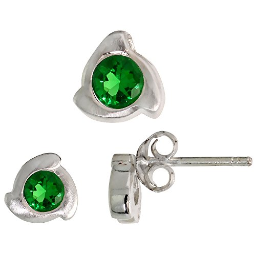 Fancy Colored Stone Sets (Sterling Silver Matte-finish Fancy Stud Earrings (6mm) & Pendant Slide (8mm tall) Set, w/ Brilliant Cut Emerald-colored CZ Stones)