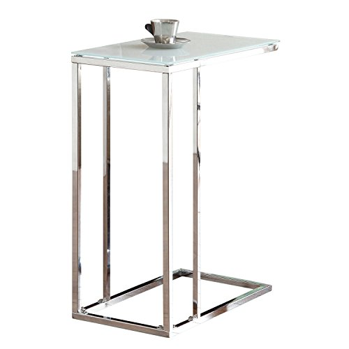- Glass Top Snack Table Chrome and White
