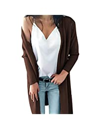 Alixyz Women Long Sweater Coat Winter Solid Color Knitted Tops Blouse Coat