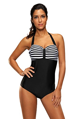 Charminy Vintage Swimsuit Striped Monokinis