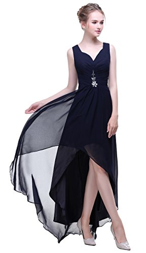 Beadings Low Neck Navy Bislu Bridesmaid Prom High Gowns V Evening Dresses Chiffon xnZnqfX1A
