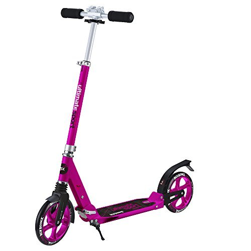 Foldable GoScoot Ultimate, 2 Wheel Kick Scooter for Kids by New Bounce|Portable Outdoor Toy with Adjustable Height for Children and teens|Deluxe Design for Girls & Boys in Pink, Blue and Black (Pink)