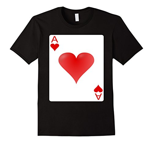 Themed Halloween Costumes For Groups (Mens Ace of hearts playing card Halloween Group Costume T-shirt 2XL Black)