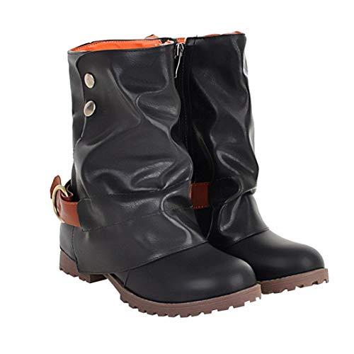 Mode Damen Schnalle Reißverschluss Leder Kunstleder VJGOAL Stiefel Patchwork Heel Warme Schuhe Knöchel Low Damen Kurze Schwarz Stiefel 01n0txE