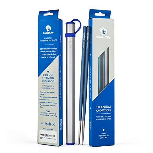 Chopsticks, 1 Pair of Titanium Chopsticks Ultra Lightweight Professional (Ti), Super Strong Healthy and Eco-Friendly 1 Pair of Chopstick Comes with Free Aluminium Case (Blue)