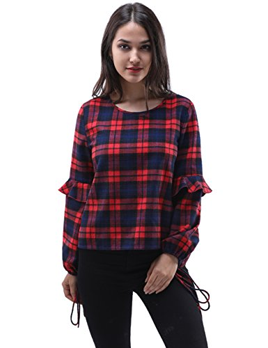 Fancyqube Women's Long Ruffle Trim Tie Sleeve Plaid Printed Pullover Blouse Top Red (Sleeve Western Plaid Shirt)