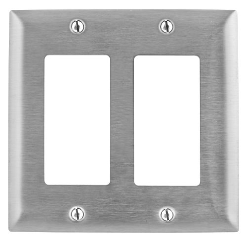 Bryant Electric SS262L Metallic Wallplate, 2-Gang, 2 Decorat
