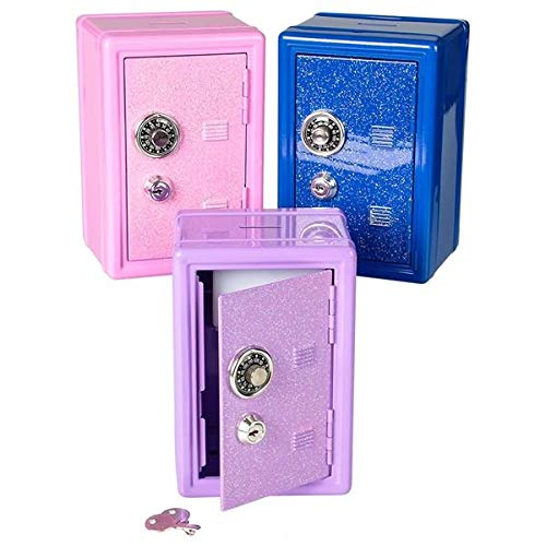 Rhode Island Novelty 7 Inch Metal Toy Safe Locker Bank with Glittery Door Color Vaes One per Order
