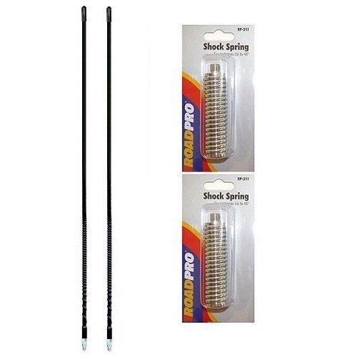 LOT OF 2 ARIES 10801 2` Foot Fiberglass 500 Watt CB Radio Antenna (BLACK) And RoadPro RP-311 Meduim Springs - Foot Cb Antenna