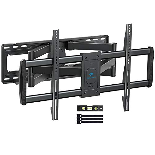PERLESMITH TV Wall Mount Bracket Full Motion, Tilts, Swivels for most 50-90 Inch LED LCD OLED Flat Screen Plasma TVs with Dual Articulating Arms, Holds up to 165lbs VESA 800x400mm Max Stud Spacing 24""