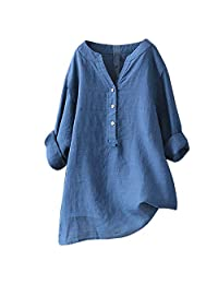 Women Solid Henley Shirts Casual Autumn V Neck Tops Button Down Loose Blouse Pullover