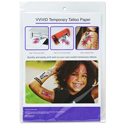 VViViD Easy-to-Apply Printable Inkjet Rub-On Temporary Tattoo Paper 2-Sheet Pack (1 Pack (2 -