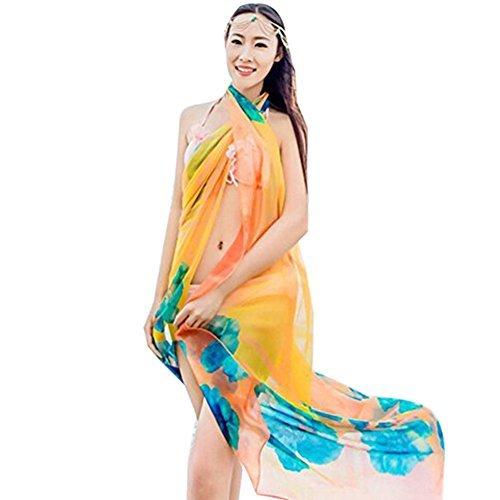 f35c0e27a1 Herebuy8 Womens Sexy Beach Chiffon Sarongs Hawaiian Swimsuit Cover-up Wraps  Hibiscus Print Plus Size Swim Bikini Scarf (Orange) - Buy Online in Oman.