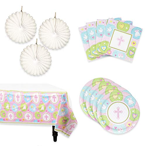 Baptism Decorations | A Complete Set of Baptism Party Supplies | Includes the Catholic Christening Decorations You Need: Baptism Napkins, Paper Plates, Table Cloth and Hanging Decoration (Pink, -