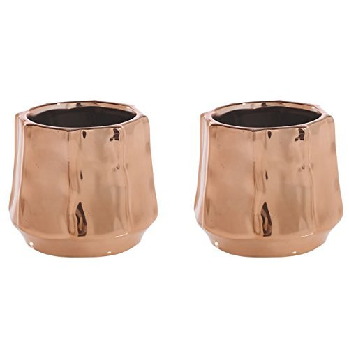 - Rose Gold Ceramic Geometric Planter - Set of 2 - 2.75 x 3.25 Inches - Moet Shiny Copper Pot - Modern Metallic Decor for Home or Office