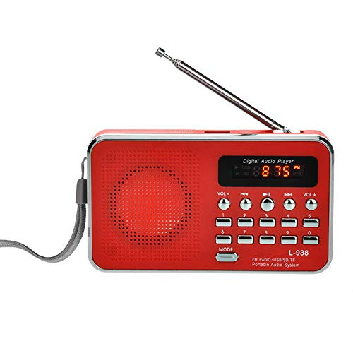 CZYCO Portable FM/AM Radio Digital Mini Speaker Music MP3 Player AUX USB TF With LED Light(red) (By Audio Iris Johansen Books Mp3)