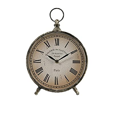 "CC Home Furnishings 11.5"" Distressed Over-Sized Pocket Watch Style Roman Numeral Desk Clock - Decorative Novelty French-Style - clocks, bedroom-decor, bedroom - 41 sqxqCKLL. SS400  -"