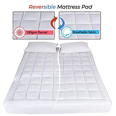 DREAMFLYLIFE Queen Mattress Pad Cover-Spring Fibre and Flannel Reversible Cover Queen Size Pillow Top  Mattress Topper with Hypoallergenic Cotton Fill (8 to 21 Inches Fitted Deep Pocket)