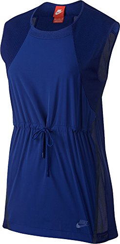 Nike Women's Drawcord Waist Lifestyle Bonded Sleeveless Top (Deep Royal Blue, Small)