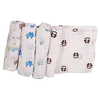 Artempo Baby Swaddle Blankets Receiving Blankets, Safe and Non-toxic, Different Animals Patterns, Made of Lightweight and Eco-friendly 100% Cotton, Pack of 4