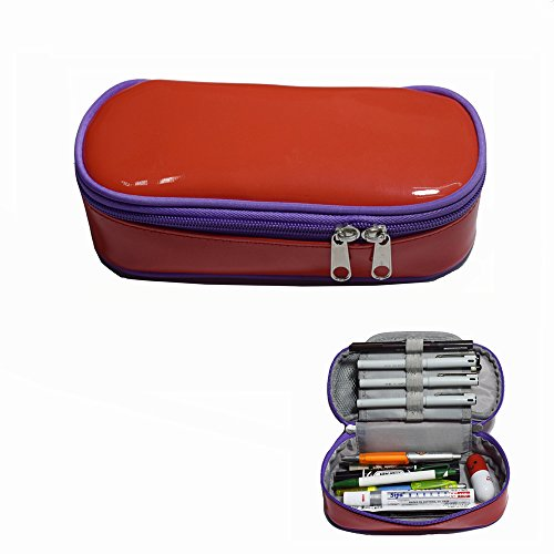 Multi-purpose Shiny Leather Pencil Case Pen Bag Holders Stationery Organizer Storage Pouch with Big Capacity Waterproof and Easy Clean(Red/Purple)