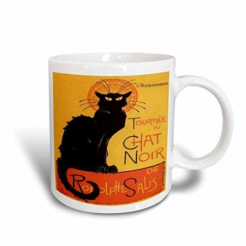 (3dRose Taiche - Vintage Posters - Cats - Le Chat Noir - advertising, art nouveau, black cat, cat, cats, chat noir, le chat - 11oz Mug)