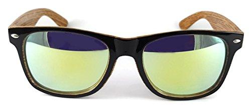 amp; Wayfarer Black Bicolore UV400 Yellow rétro de grain Lunettes wood étui unisexes Lens réfléchissant avec New outer 6004 Lens soleil Verres OWgqOFwd