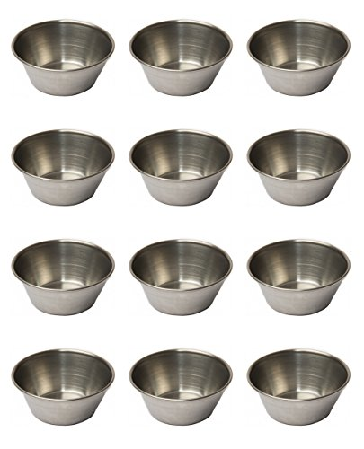 EhomeA2Z Polished Stainless Steel Condiment Sauce Cups (48, 1.5 oz) ()