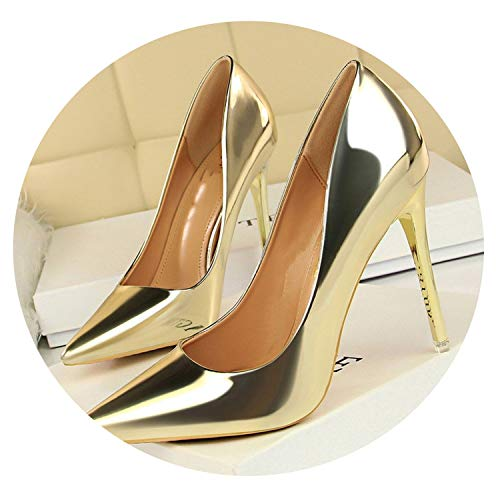 (Woman Office Shoes Women Pumps High Heels Shoes Women's Pointed Sexy Party Shoes Shallow,Gold,4.5)