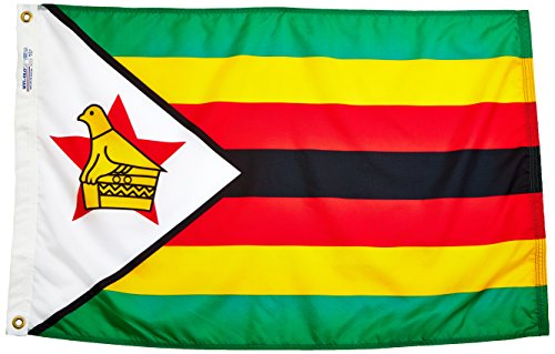 (Annin Flagmakers Model 199510 Zimbabwe Flag Nylon SolarGuard NYL-Glo, 2x3 ft, 100% Made in USA to Official United Nations Design Specifications)