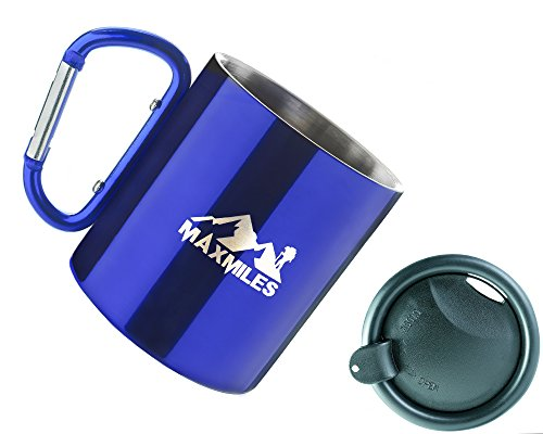 MaxMiles Camping Cup Lightweight Hiking Cup Stainless Steel Camp Mug Weight Carabiner Cup With Lid 10oz 300ml (Blue)