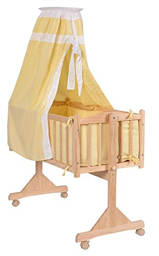Wood Baby Cradle Rocking Crib Bassinet Bed Sleeper Born Portable Nursery Yellow by Unknown