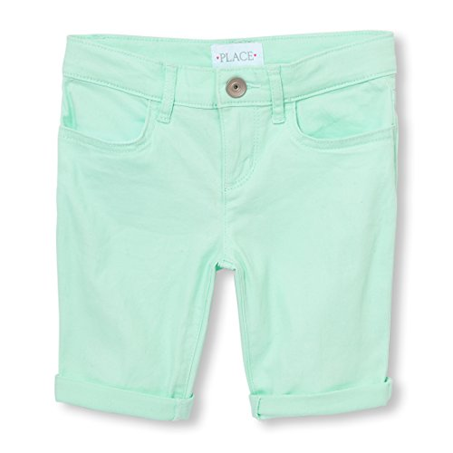 The Children's Place Big Girls' Colored Denim Skimmer Shorts, Glade Green 9912, 14