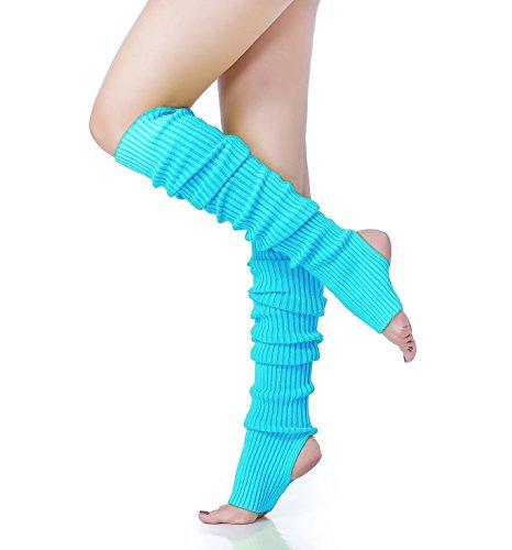 V28 Women 80s Pink Ribbed Knit Stirrup Neon Dance Sports Yoga Long Leg Warmers