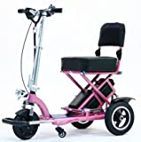 TRIAXE SPORT Foldable Electric Mobility Scooter + Cane & Cup Holder (Pink)