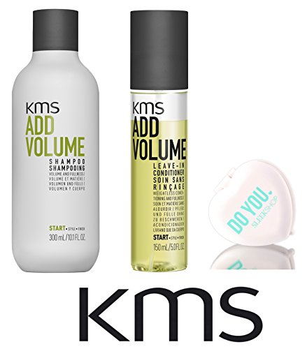 KMS Add Volume Shampoo & Leave-In Conditioner DUO Set (with Sleek Compact Mirror) (10 oz + 5 oz DUO (Add Volume Shampoo)