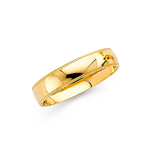 Wedding Ring Solid 14k Yellow Gold Band Milgrain Edges Plain Dome Polished Style Mens Womens 4 mm Size 8.5