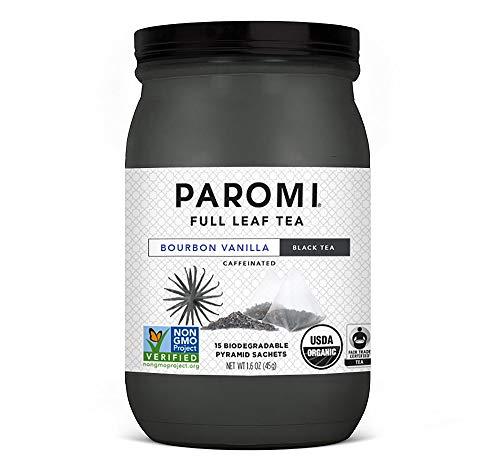 (Paromi Tea Bourbon Vanilla Tea, 15 Tea Bags, Organic Caffeinated Black Tea with Organic Bourbon Vanilla Bean, Delicious Hot or Iced, Great for Infusing Recipes with Tea Flavor)
