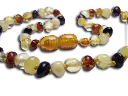 Baltic Amber Teething Necklace with BONUS Tooth Tissues (Rounded, Multi), Baby & Kids Zone