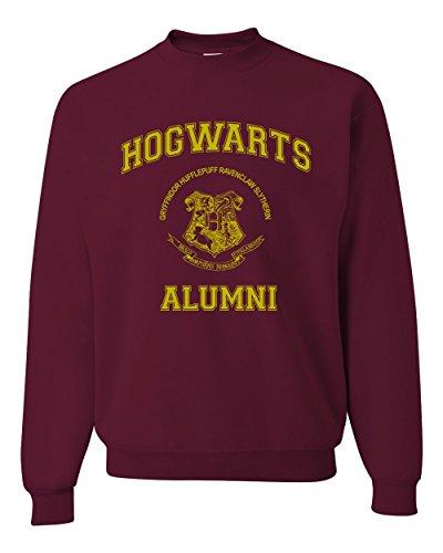 Gold Design Hogwarts Alumni Harry Potter Unisex Crewneck Sweatshirt ( Maroon , Large )