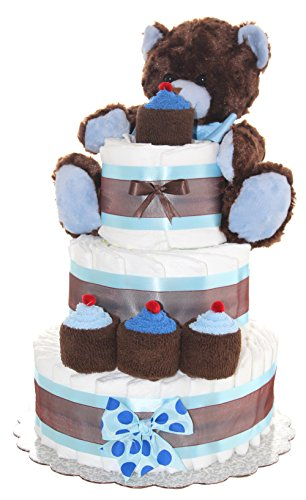 Newborn Diaper Cake 3 Tier- Brown Teddy Bear Classic Diaper Cake/ Baby Boy Gift, Baby Girl Gift (Brown-Blue)