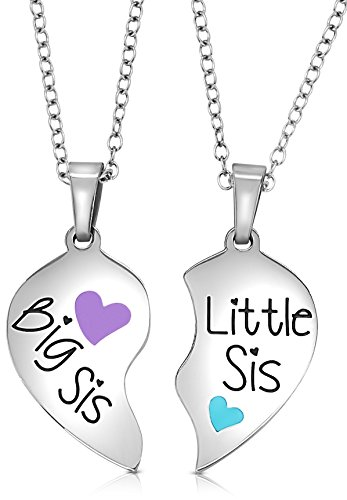 2 Piece Heart Halves Matching Big Sis Little Sis Sisters Necklace Jewelry Gift Set Best Friends (Big Sis Purple, Little Sis Blue)