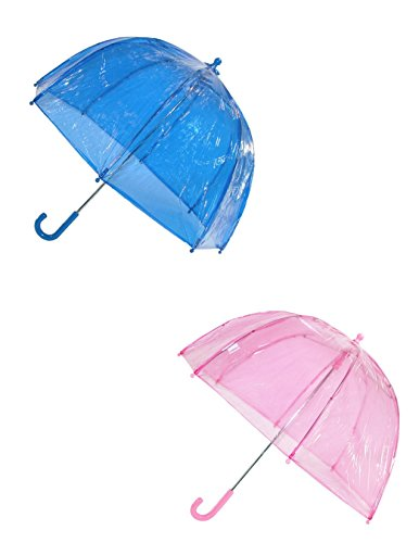 totes ISOTONER Kids Clear Bubble Umbrella (Pack of 2), Pink/Blue -
