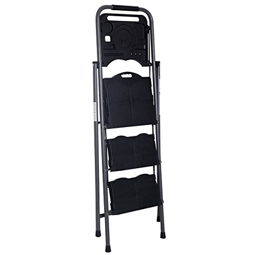 onestops8 HD 3 Step Ladder Platform Folding Stool 330 LBS Capacity Space Saving w/Tray by onestops8 (Image #2)