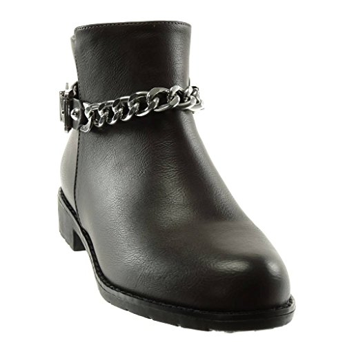 Booty Buckle Heel Metallic Shoes Boots Chains Women's 3 Block Biker Ankle cm Fashion Angkorly Grey xXPwa8Cq8