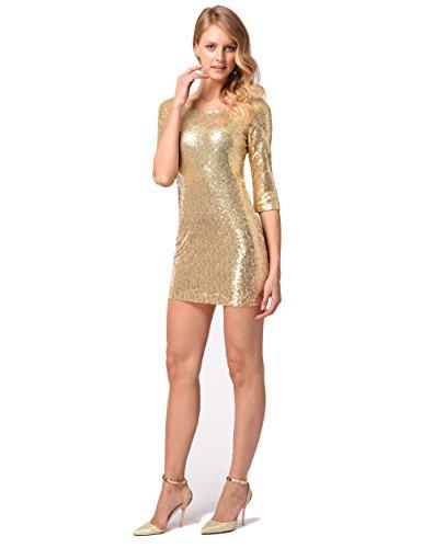 Gold Lentejuelas Moda Noche Manga Caderas Delgado Falda Sexy 1 Vestido Party Casual De Vestido 2 M Tela Abrigo 8RgaS