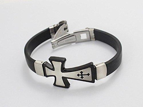 Corde en silicone anazoz Fashion Jewelry Bracelet Jonc en acier inoxydable en forme de croix Noir Titane pour Unisexs