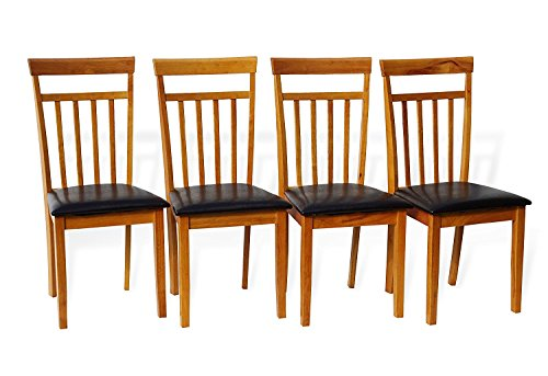 Set of 4 Dining Kitchen Side Chairs Warm Solid Wooden in Maple Finish Padded Seat - Maple Wood Finish Chair