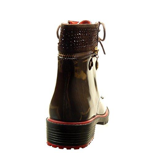 Combat Braun Strass Gummistiefel Schuhe Reißverschluss 3 Stiefeletten metallisch Boots Blockabsatz 5 Angkorly Damen cm YxOCqwn5t